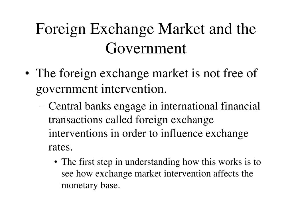 Foreign Exchange Market and the Government