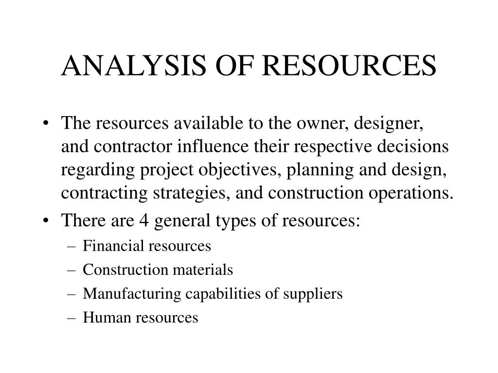 ANALYSIS OF RESOURCES