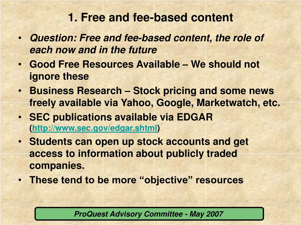 1. Free and fee-based content