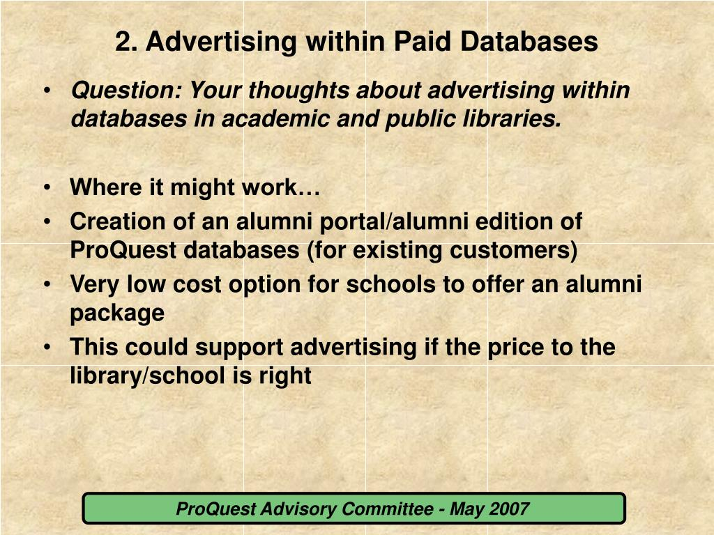 2. Advertising within Paid Databases