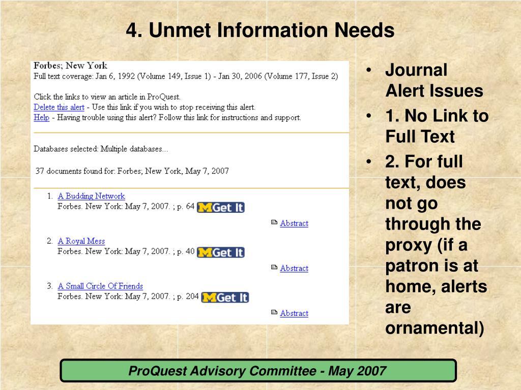 4. Unmet Information Needs