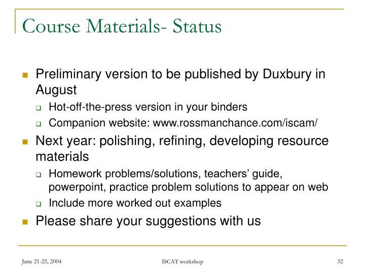 Course Materials- Status