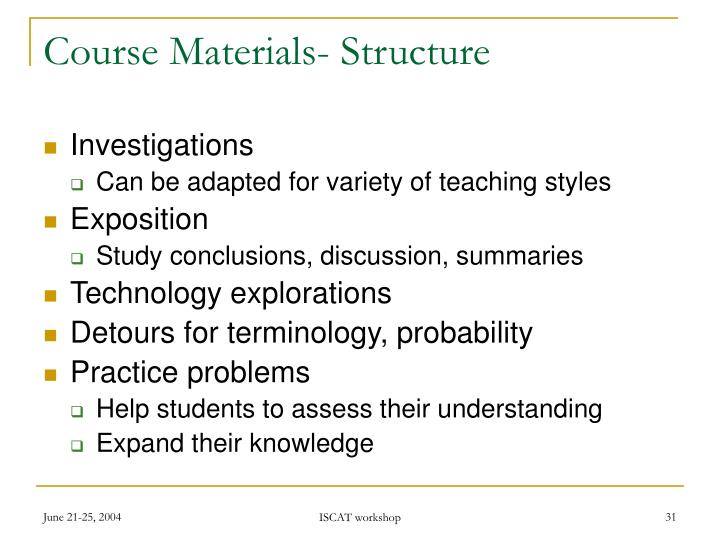 Course Materials- Structure