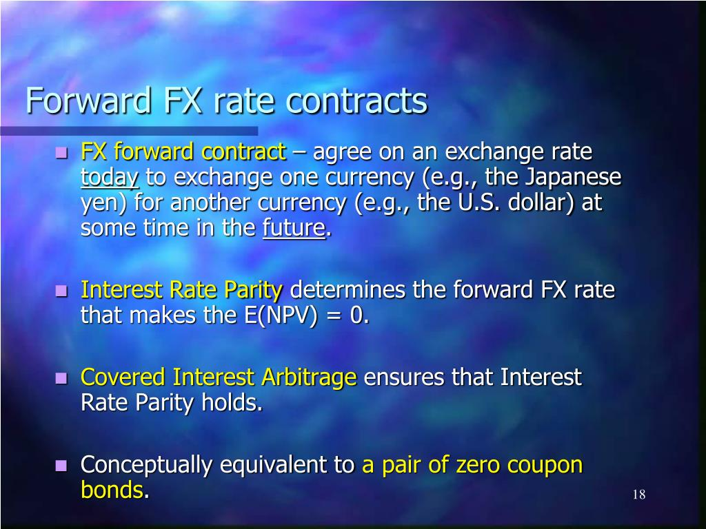 Forward FX rate contracts