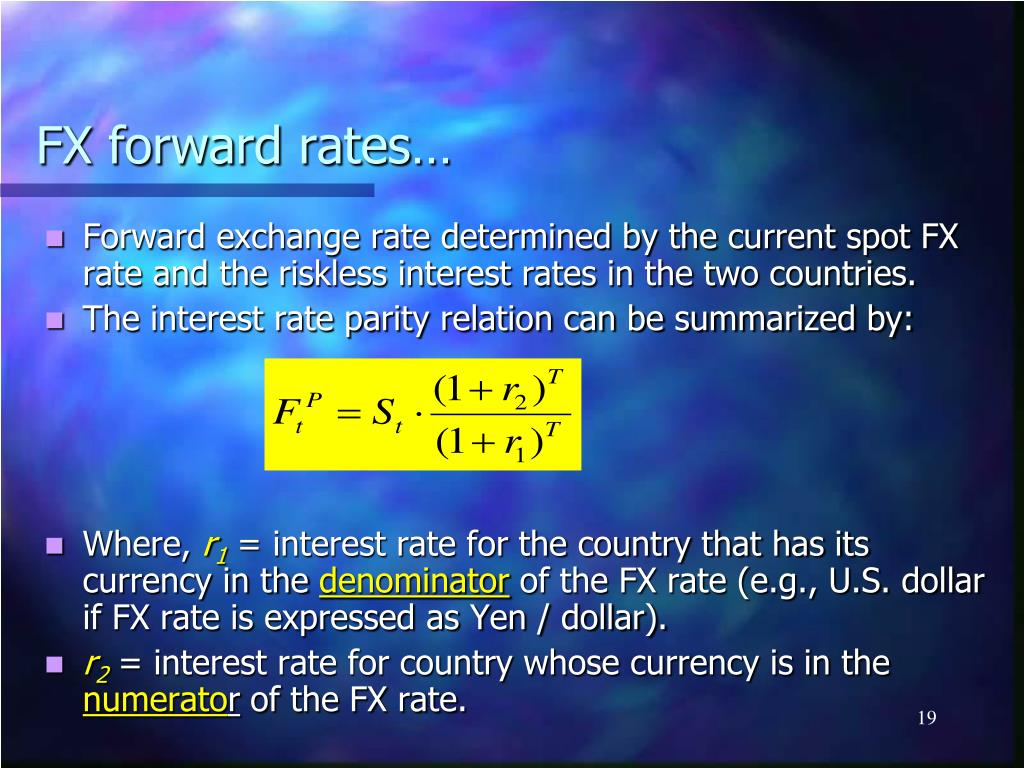 FX forward rates…