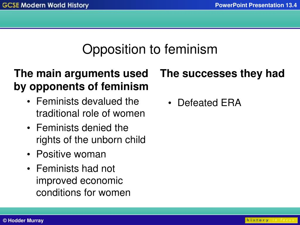 The main arguments used by opponents of feminism