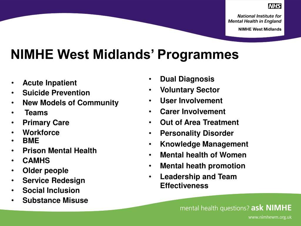 NIMHE West Midlands' Programmes