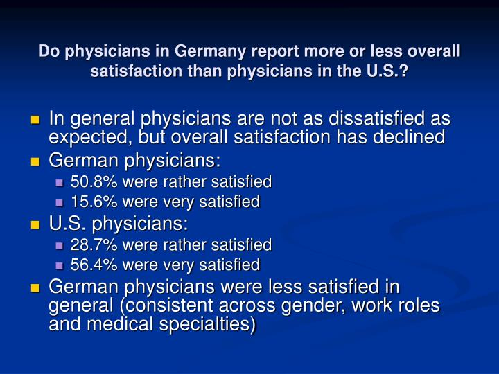 Do physicians in Germany report more or less overall satisfaction than physicians in the U.S.?