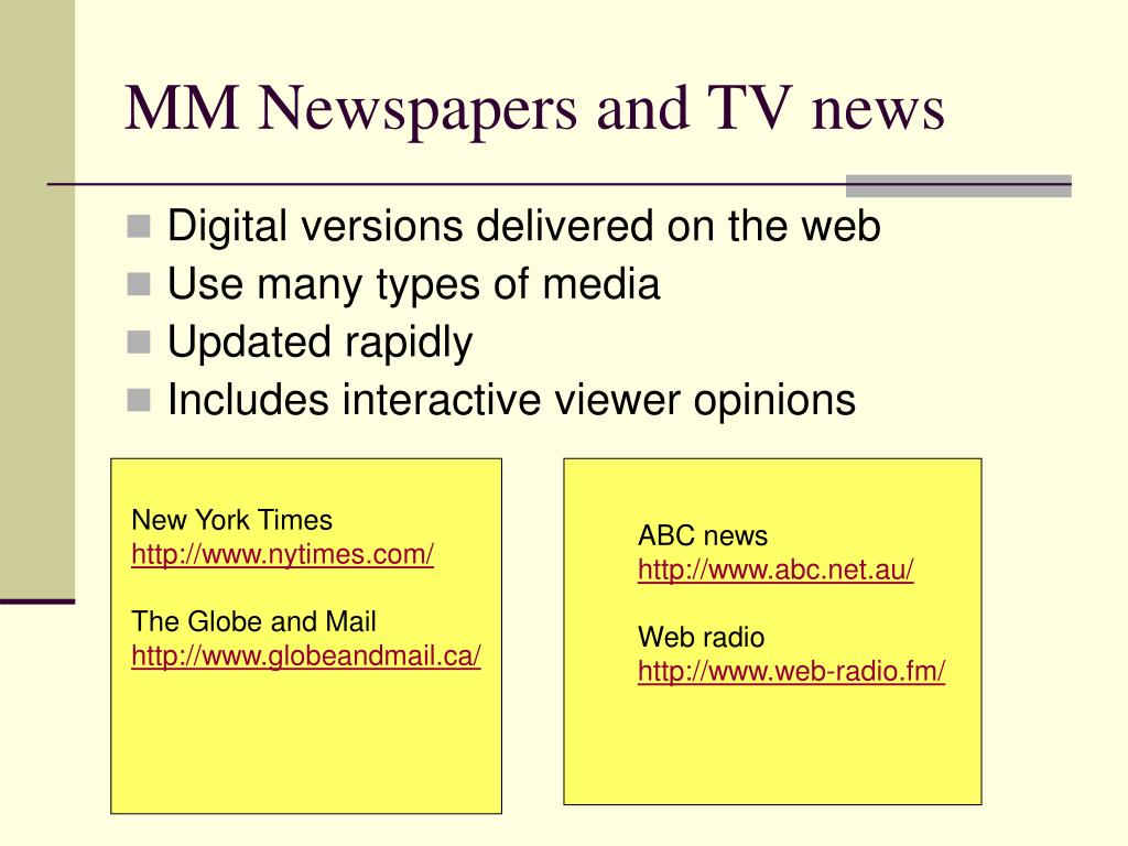MM Newspapers and TV news