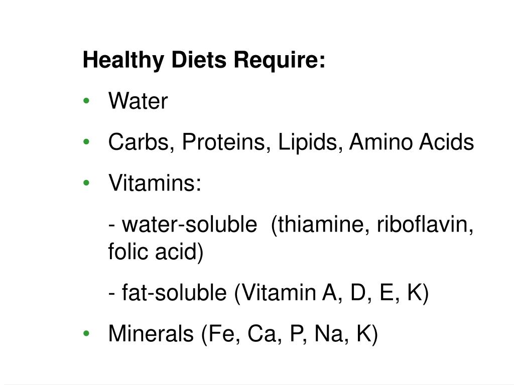 Healthy Diets Require:
