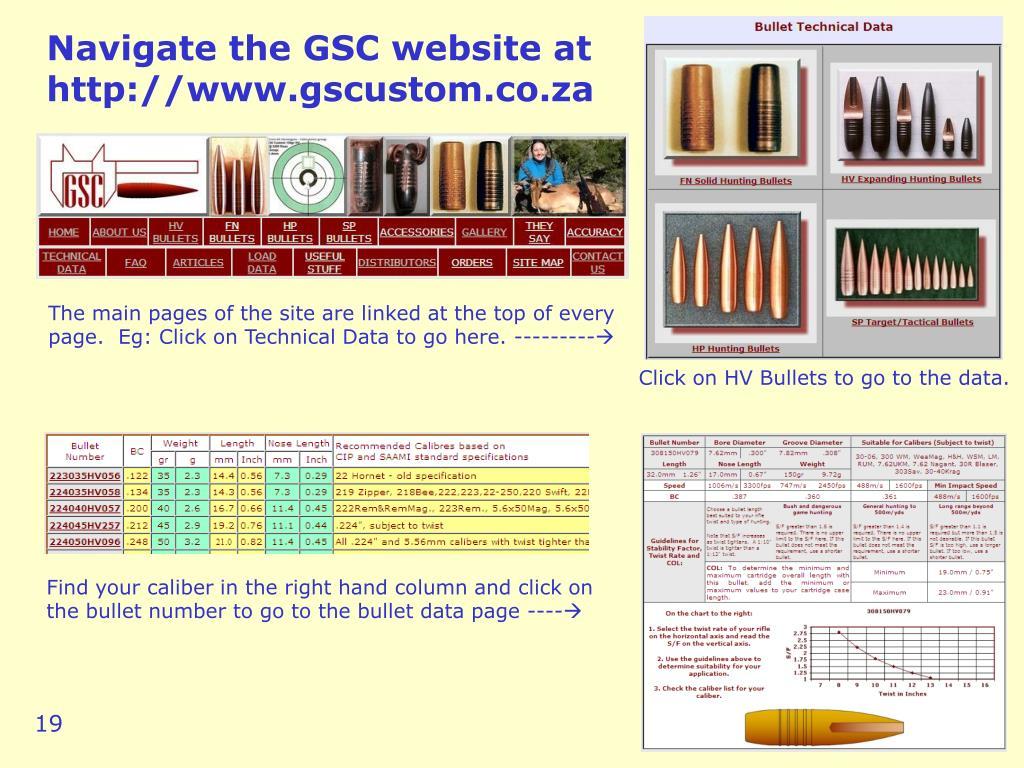 Navigate the GSC website at