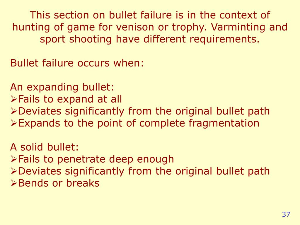 This section on bullet failure is in the context of