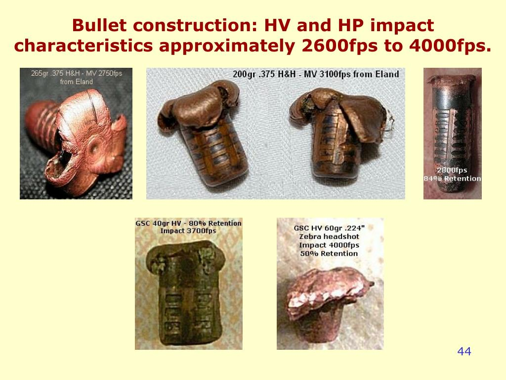 Bullet construction: HV and HP impact characteristics approximately 2600fps to 4000fps.