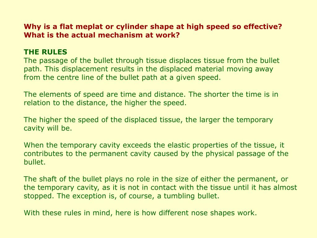 Why is a flat meplat or cylinder shape at high speed so effective?