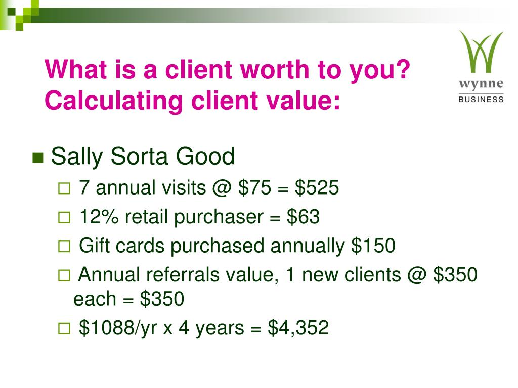 What is a client worth to you?  Calculating client value: