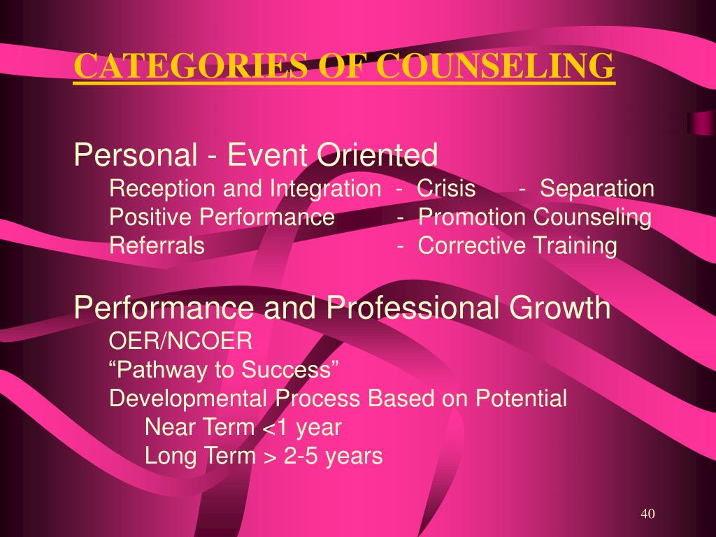 CATEGORIES OF COUNSELING