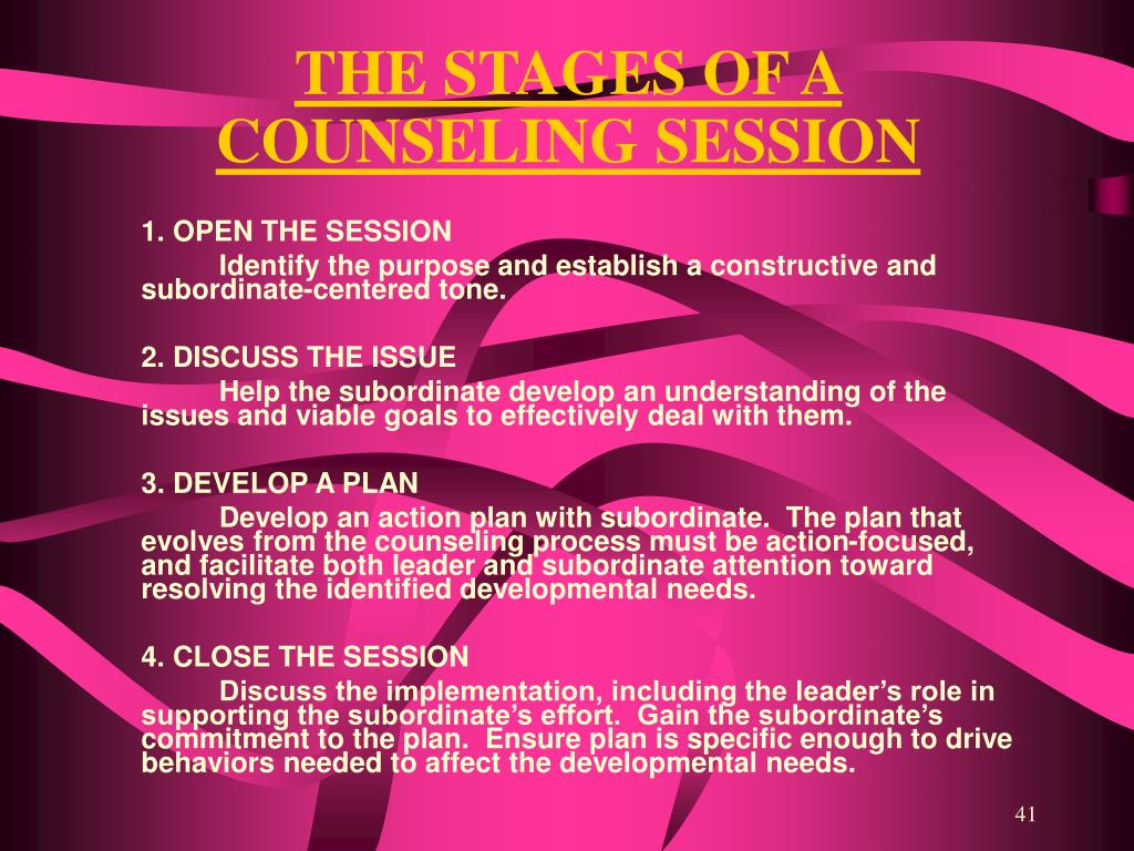 THE STAGES OF A COUNSELING SESSION