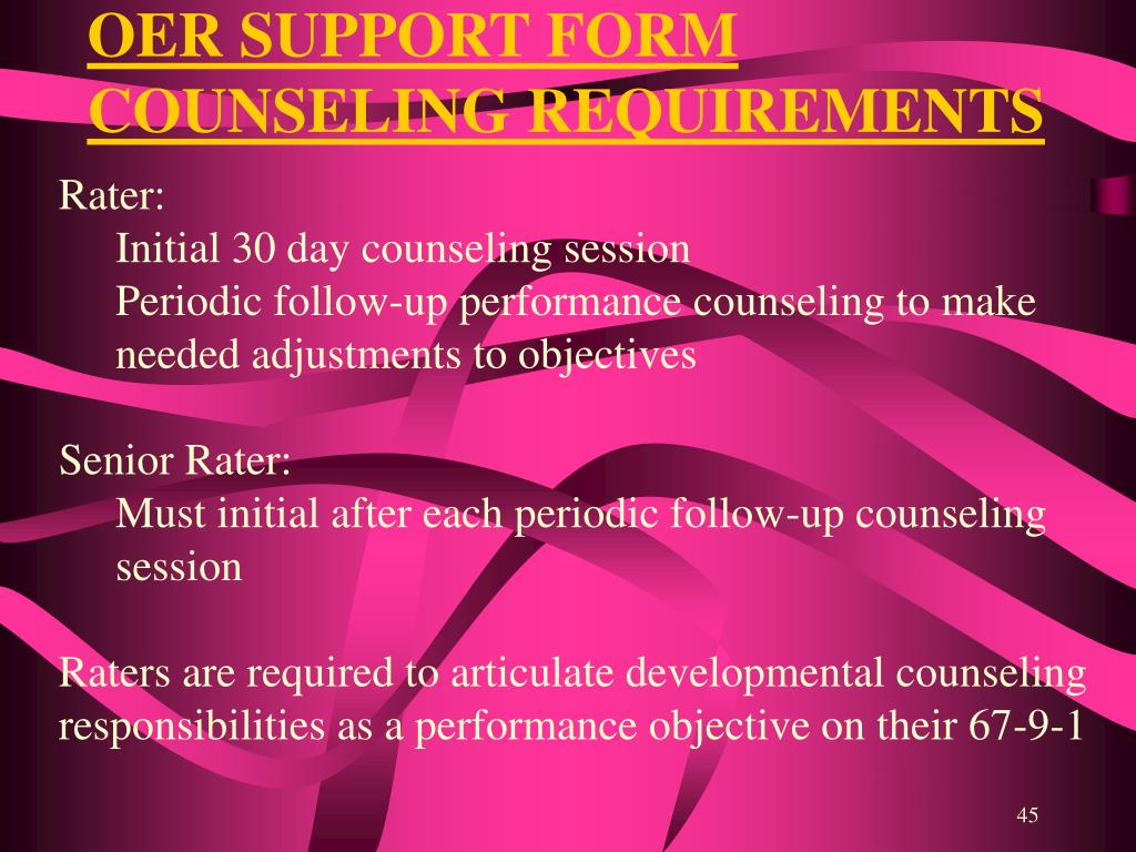 OER SUPPORT FORM COUNSELING REQUIREMENTS