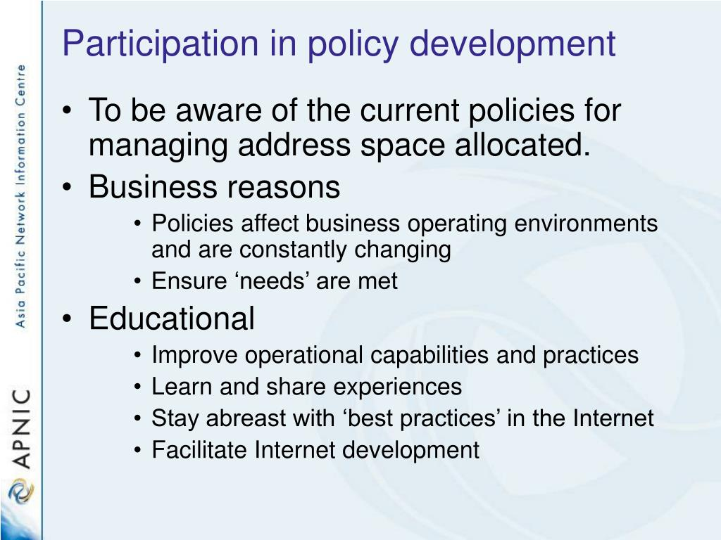 Participation in policy development
