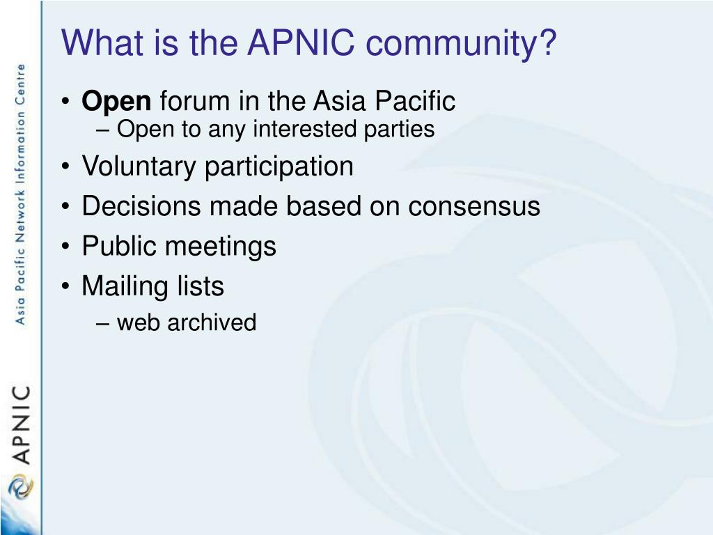 What is the APNIC community?