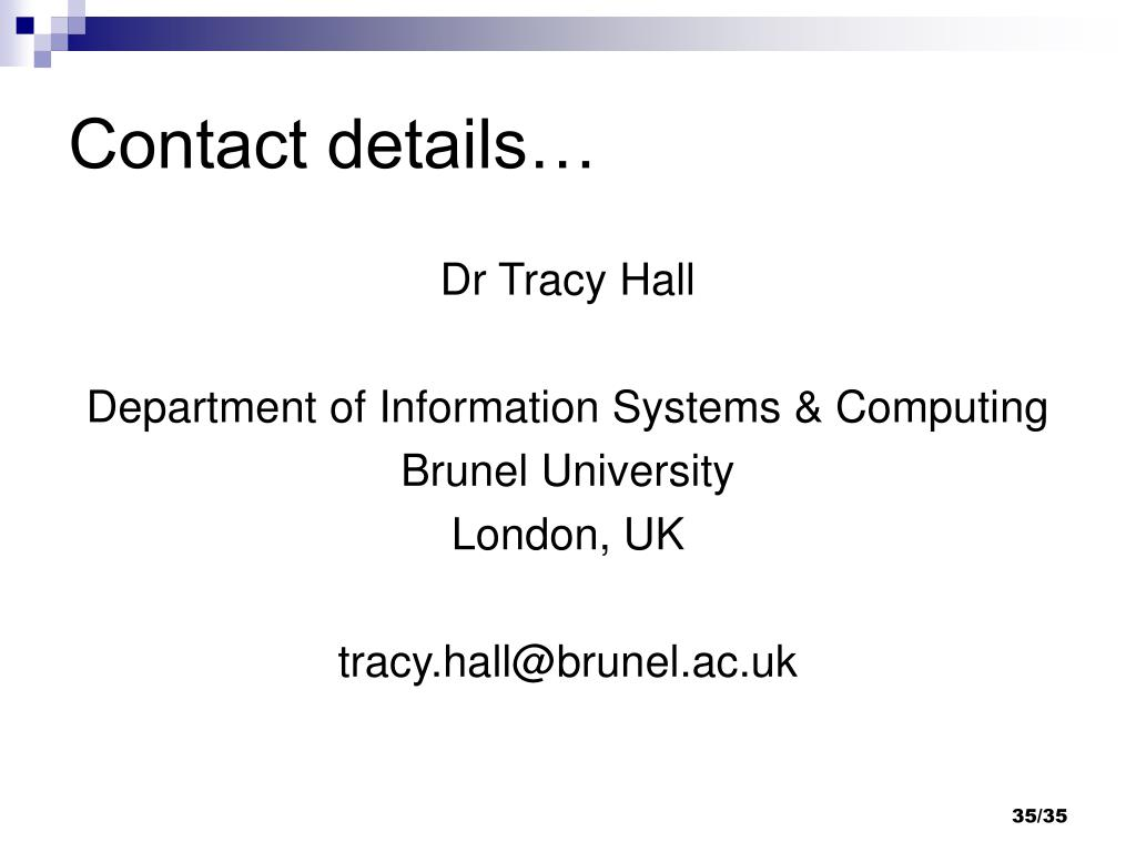 Contact details…