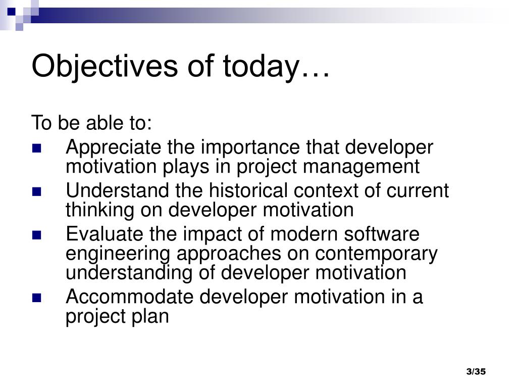 Objectives of today…