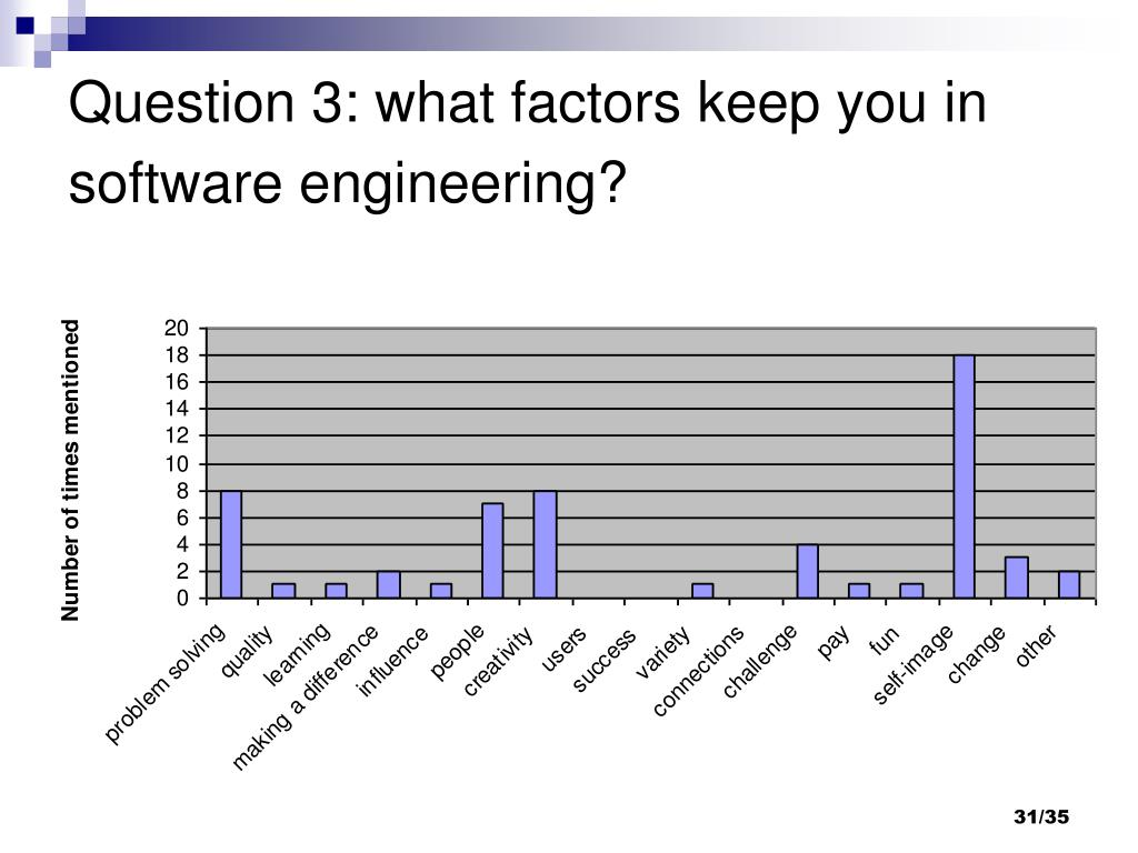 Question 3: what factors keep you in software engineering?
