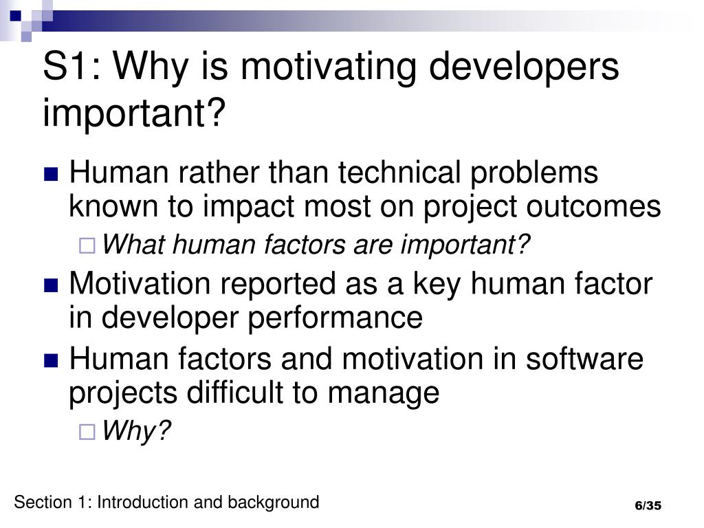 S1: Why is motivating developers important?