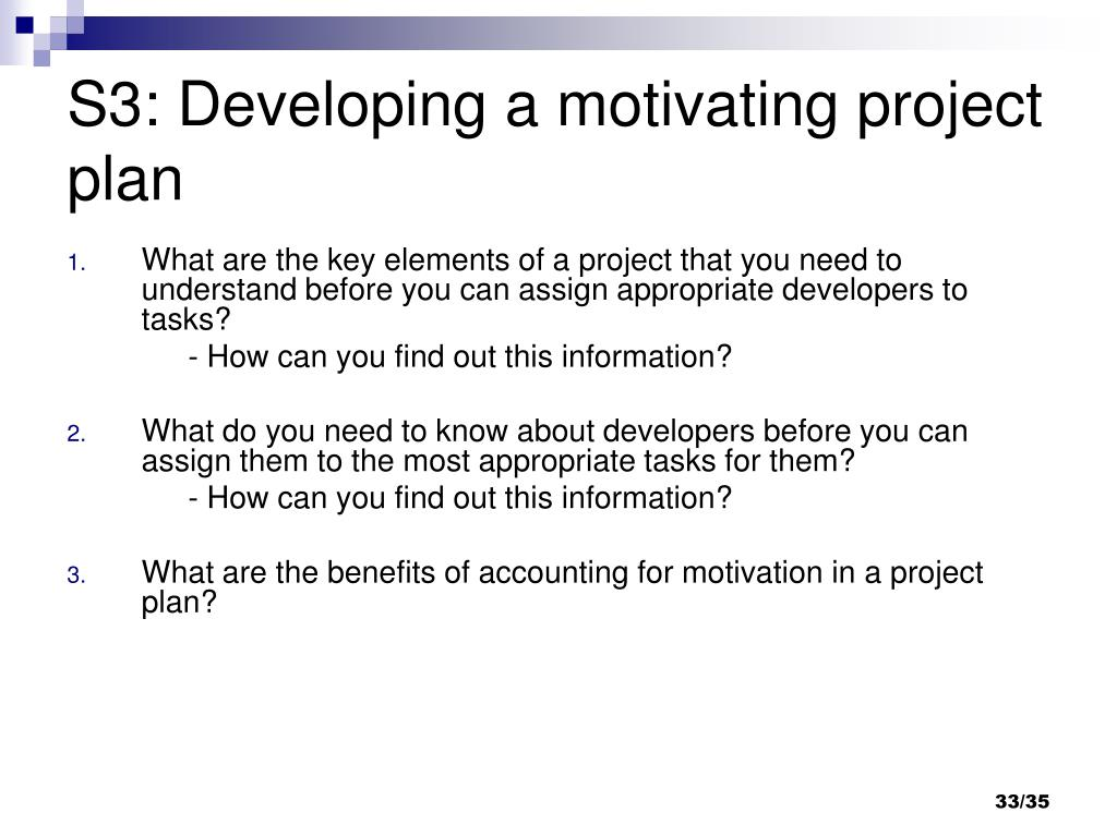 S3: Developing a motivating project plan