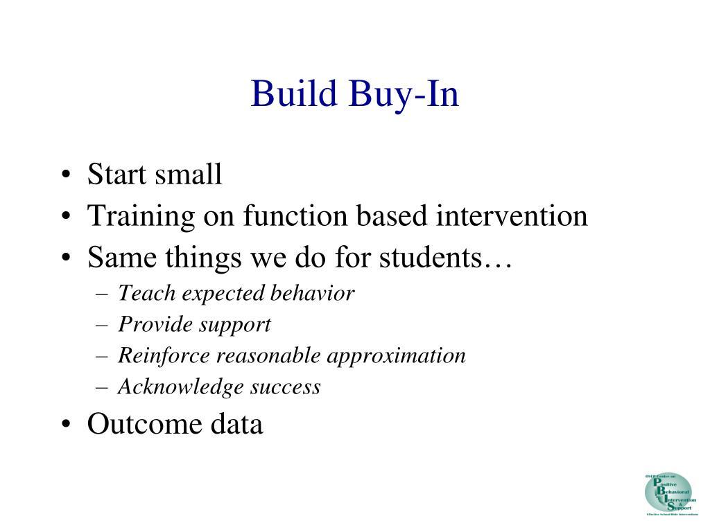 Build Buy-In