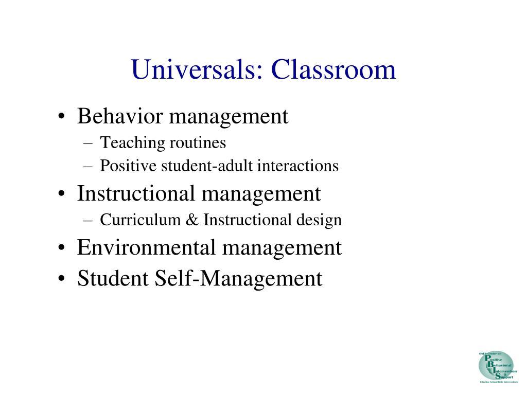 Universals: Classroom