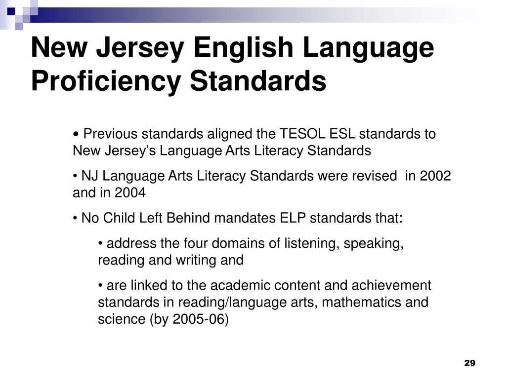 New Jersey English Language Proficiency Standards