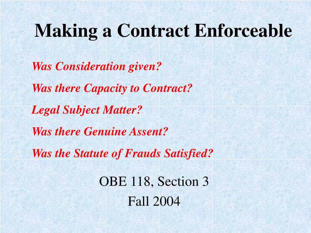 Making a Contract Enforceable