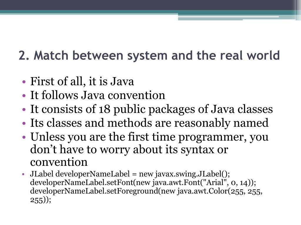 2. Match between system and the real world