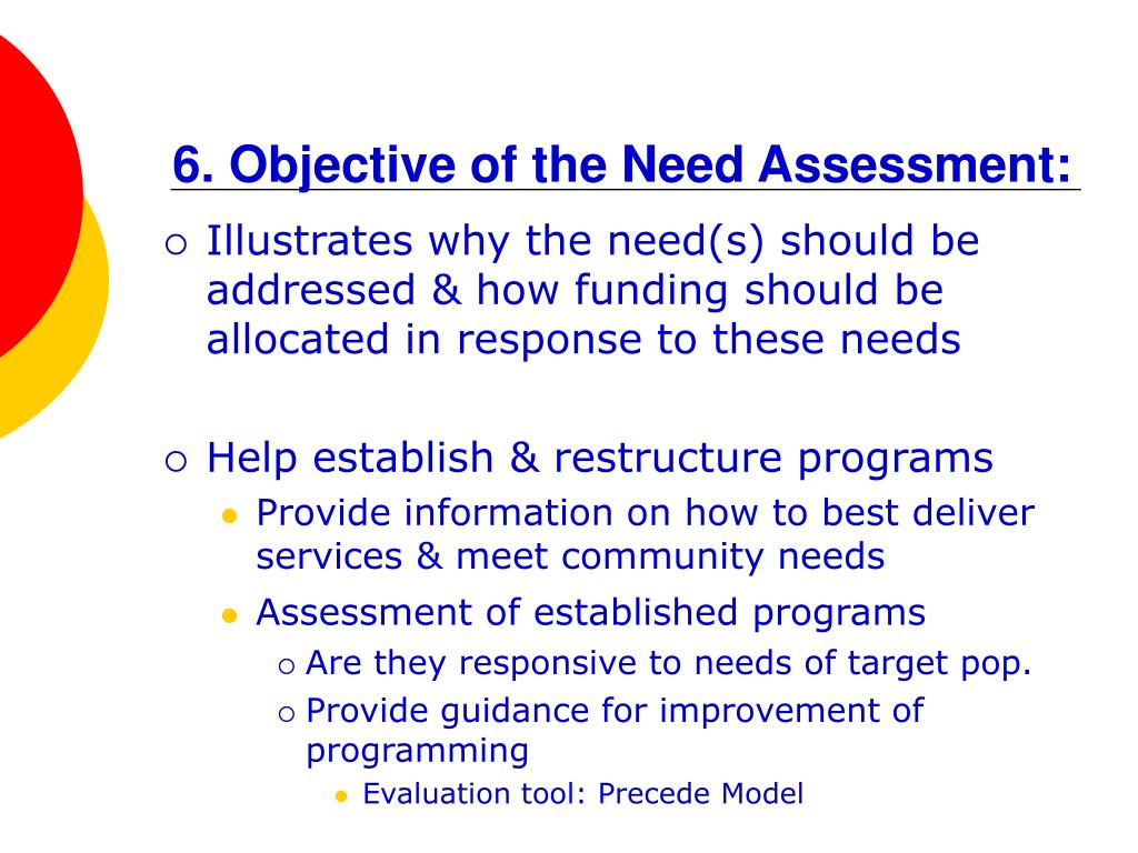 6. Objective of the Need Assessment: