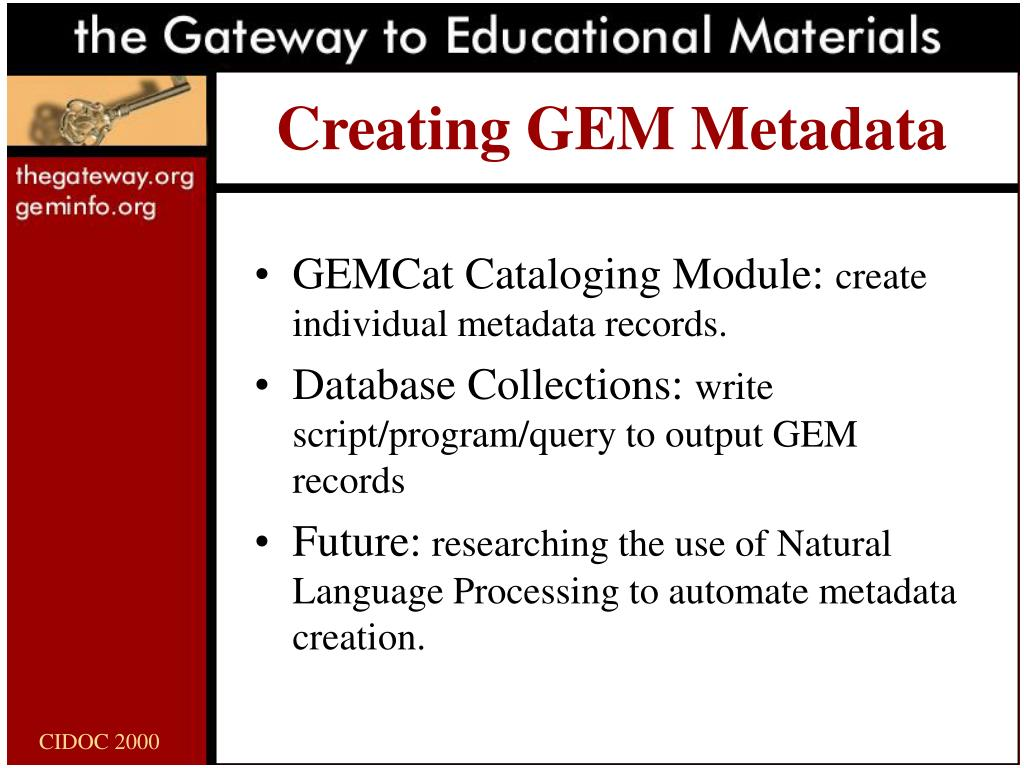 Creating GEM Metadata
