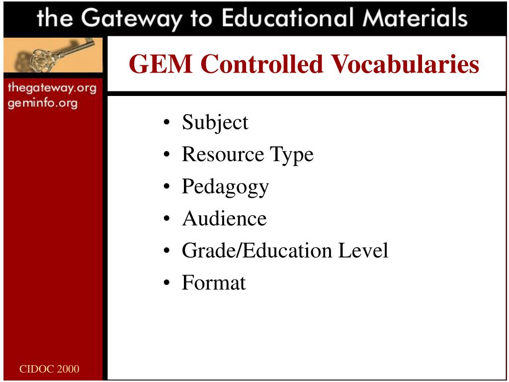 GEM Controlled Vocabularies