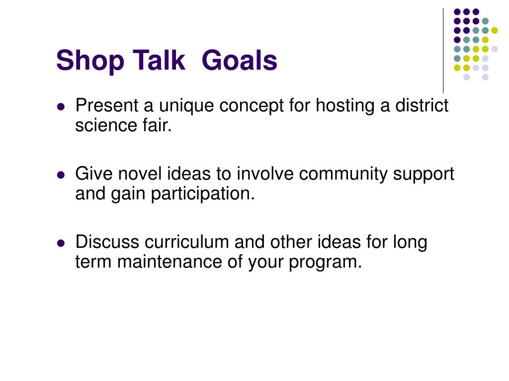 Shop Talk  Goals
