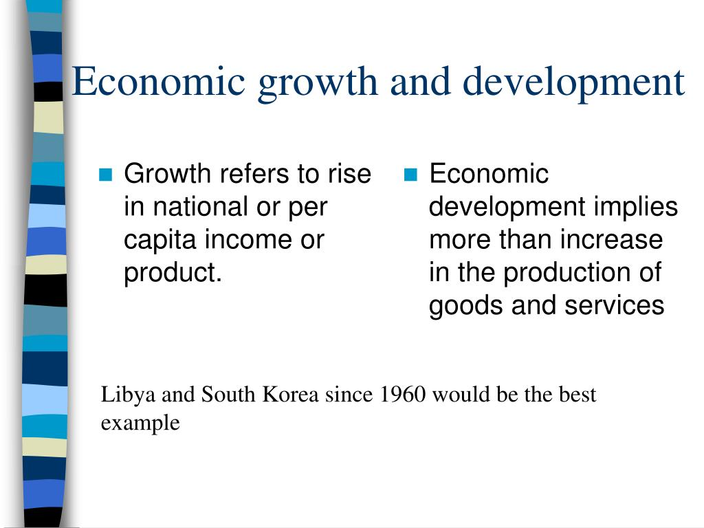Growth refers to rise in national or per capita income or product.