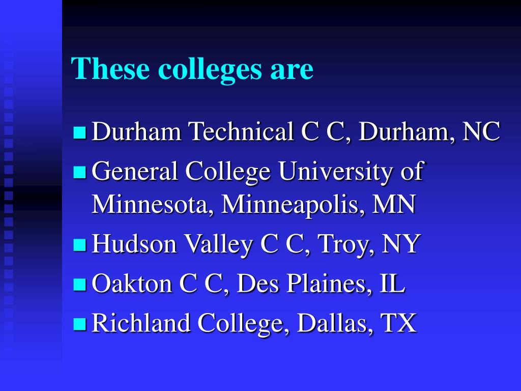 These colleges are