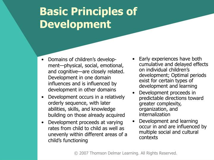 Domains of children's develop-ment—physical, social, emotional, and cognitive—are closely related. Development in one domain influences and is influenced by development in other domains