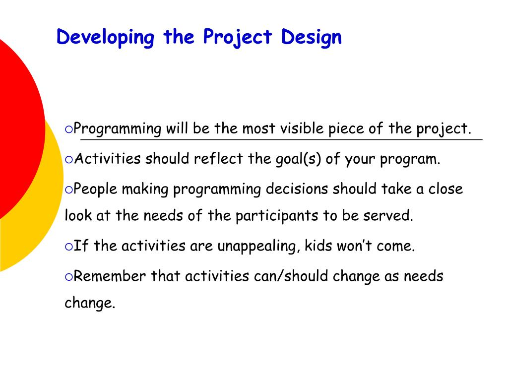 Developing the Project Design