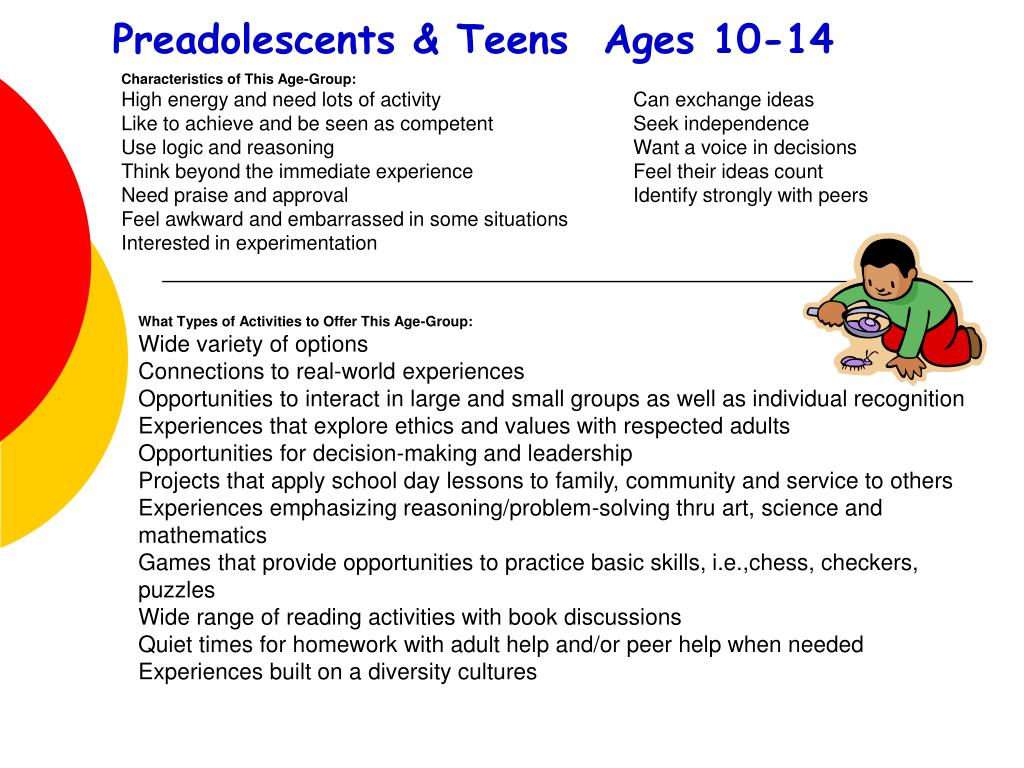 Preadolescents & Teens  Ages 10-14