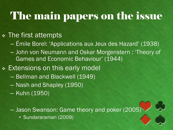 The main papers on the issue l.jpg