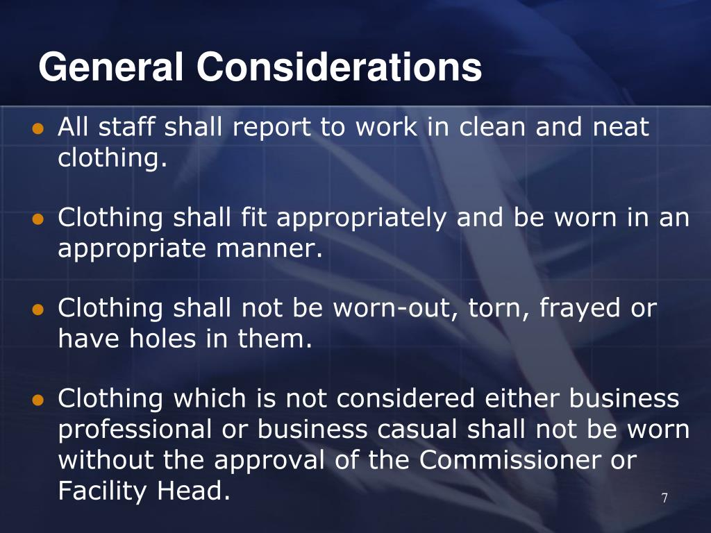 General Considerations