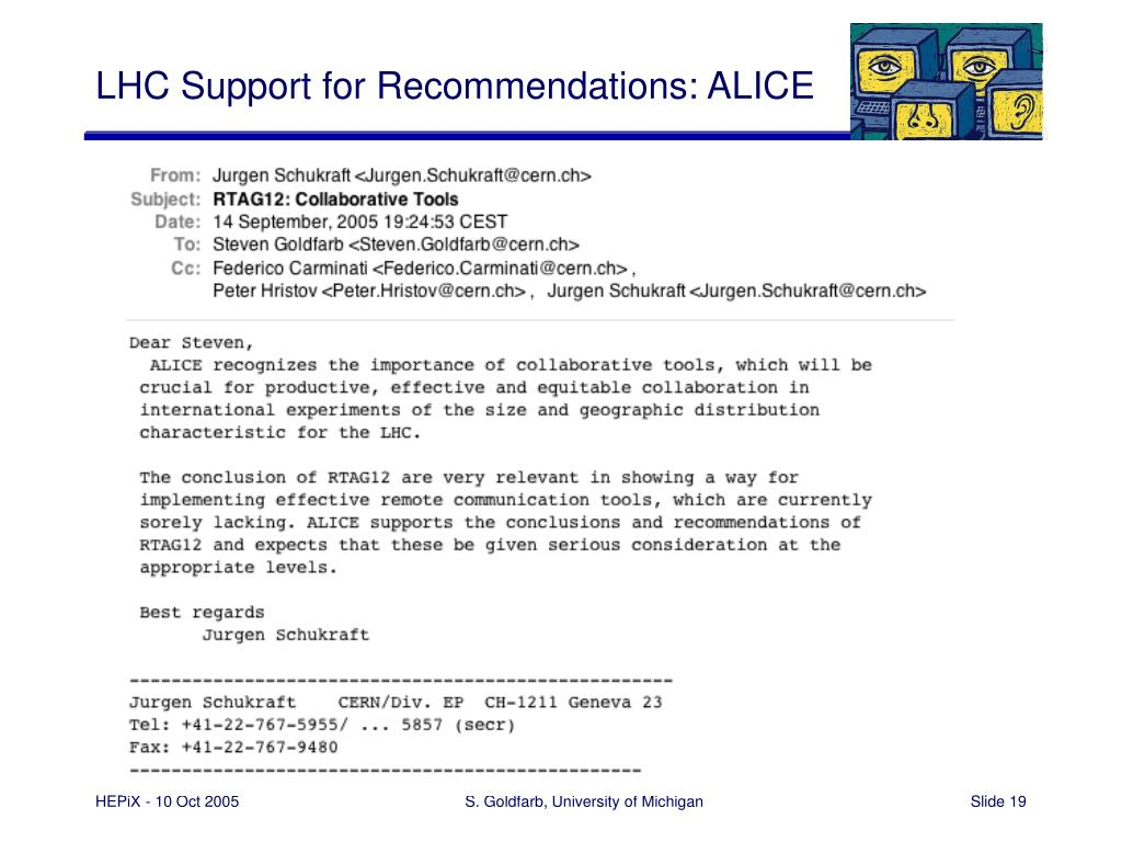 LHC Support for Recommendations: ALICE