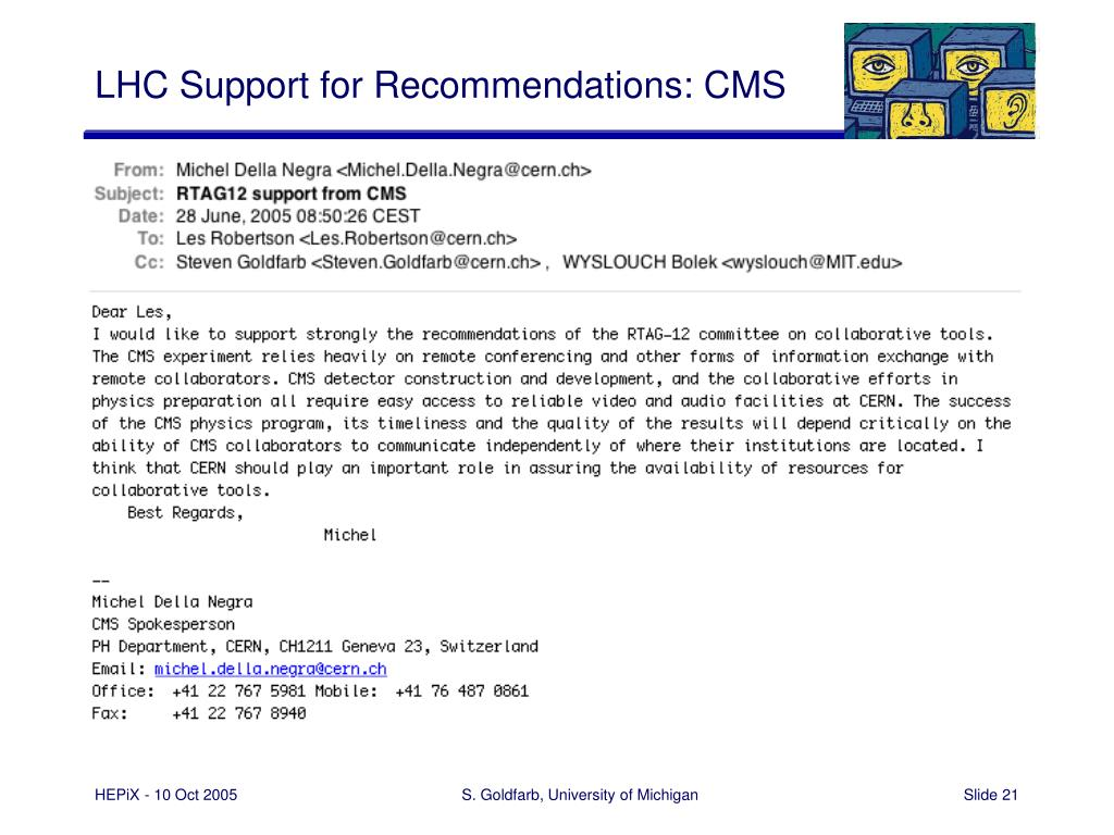 LHC Support for Recommendations: CMS