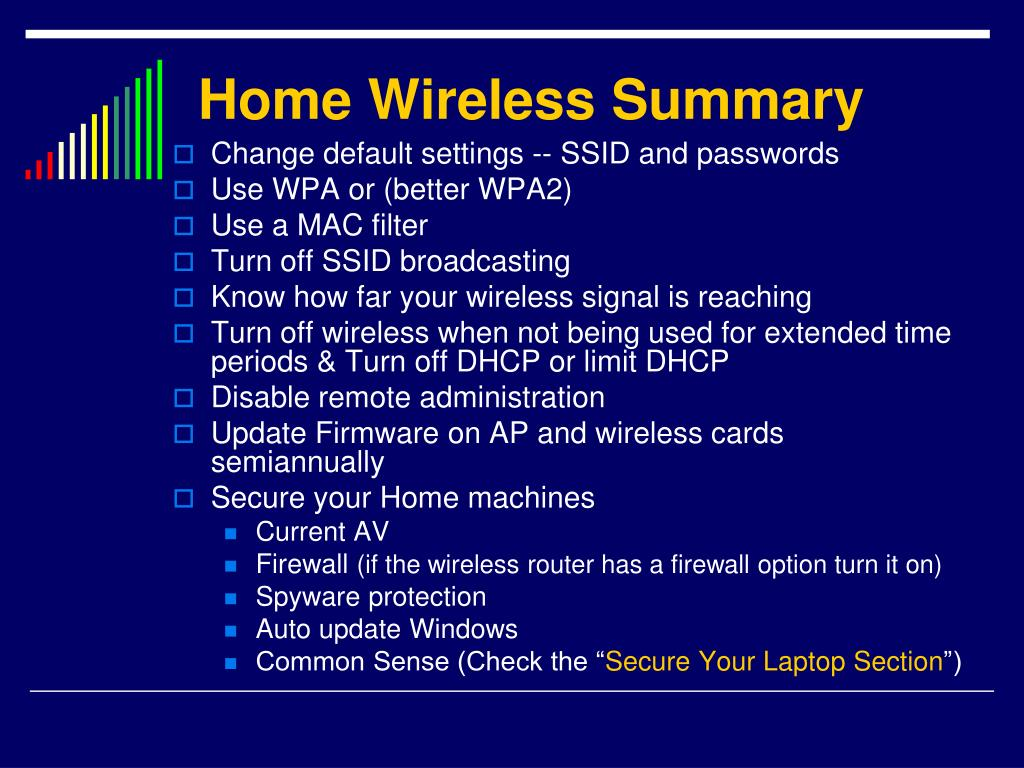Home Wireless Summary
