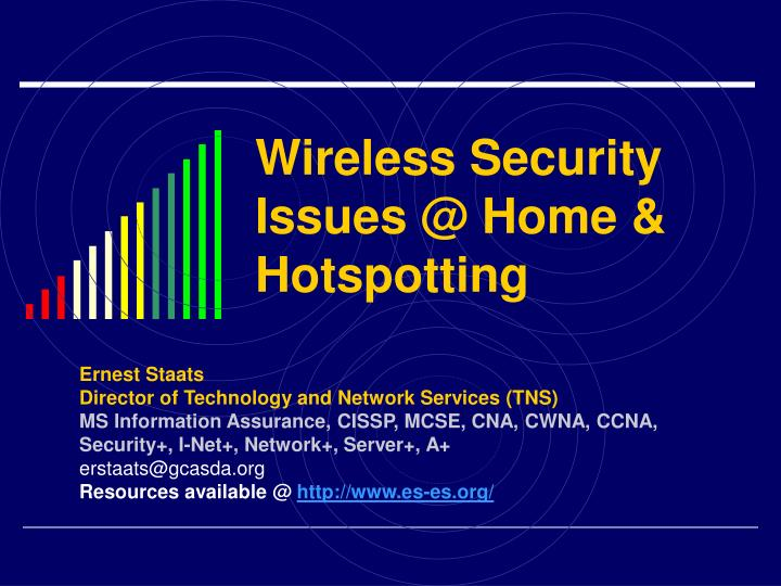 Wireless security issues @ home hotspotting