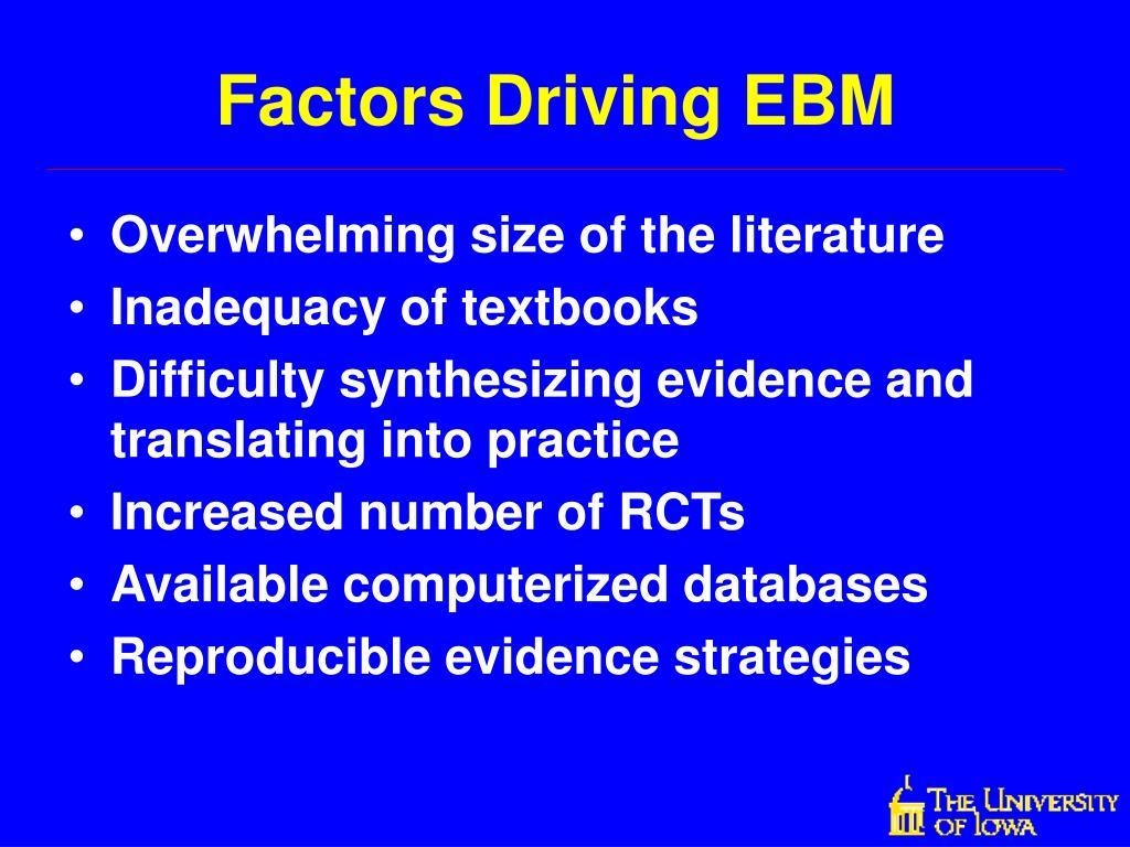 Factors Driving EBM